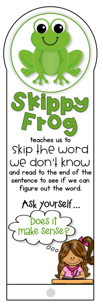 skippy frog guided reading strategy fan