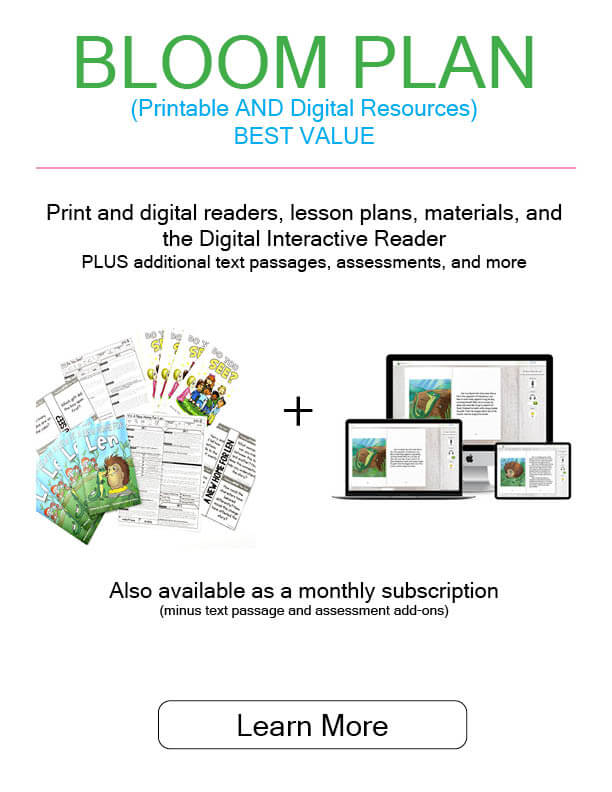 Image of print and digital readers, lesson plans, materials, and the Digital Interactive Reader
