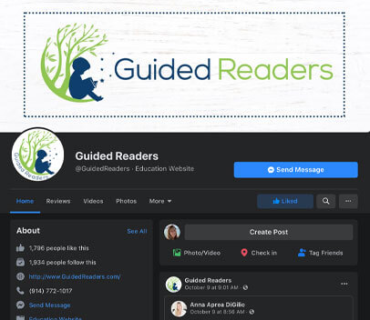 Guided Readers Facebook home page